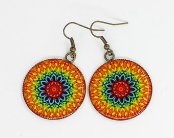 Mandala earrings Dangle Geometric earrings Statement earrings Orange earrings Hippie jewelry Boho earrings Chakra earrings Yoga jewelry Gift