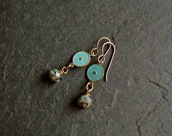 Brass earrings light blue, long earrings, blue with Czech glass beads, boho earrings, earrings are nickelfree, brass jewelry, earrings