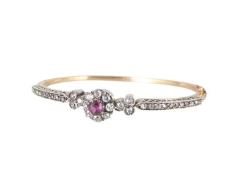Victorian Pink Sapphire Diamond Bangle, Antique Diamond Sapphire Bangle, Victorian Rose Gold Bangle, Pink Sapphire Bracelet,Antique Bracelet