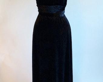 Prom dress, infinity dress, convertible dress, black velvet dress, ball gown, long dress, evening dress, party dress, cocktail dress