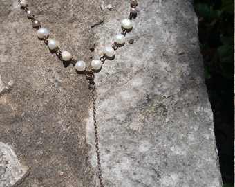 Texas Wildflower Keepsake necklace, freshwater Pearls, recycled chain