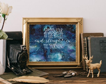 Second Star to the Right, Nursery wall art print, Famous Peter Pan quotes, Neverland nursery, Instant download, Baby nursery decor BD-766