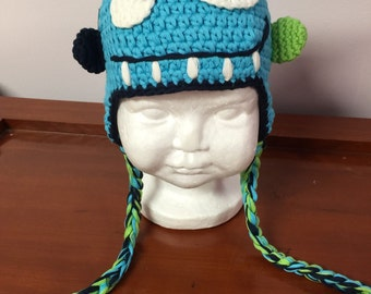 Teal monster crochet hat, blue crochet hat with ear flaps