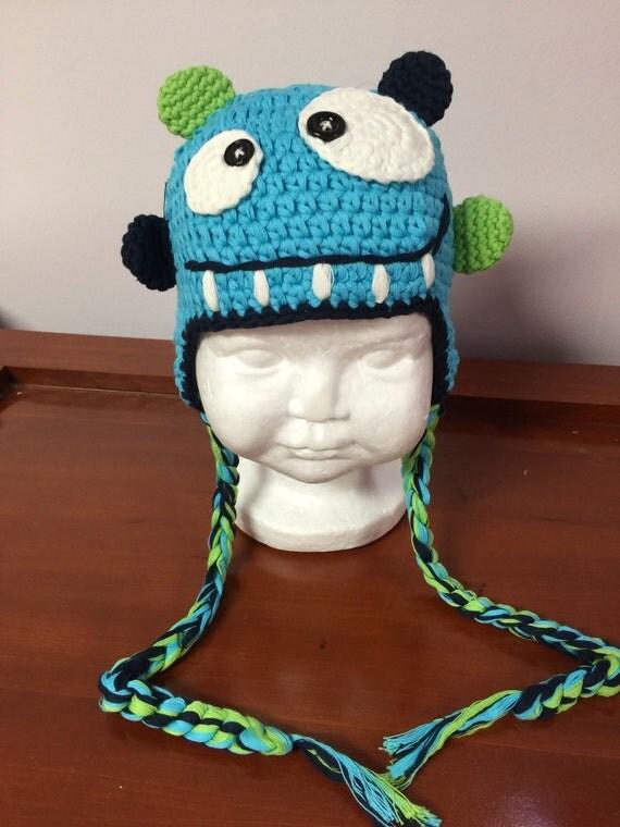 Petrol / Monster häkeln Hut blaue häkeln Hut mit Ohrenklappen