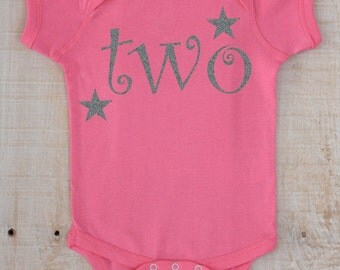 PERSONALIZED Two with Stars Name on Back Glitter Vinyl on Pink Bodysuit