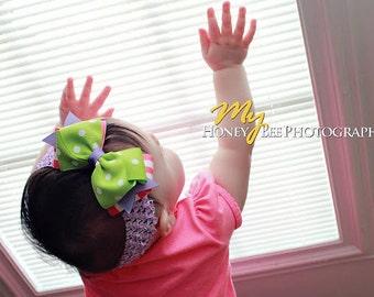 Baby Bow, Girls Bow, Boutique Bow, Baby Headband, Girls Headband, Girls Hair Clip, Pink, Apple Green, Headband, Bow, Hair Clip, Baby, Girls