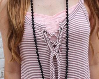 beaded black wrap necklace