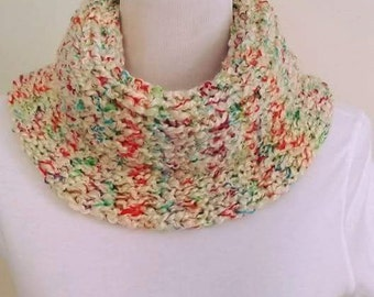 Beige cowl, Multicolor scarf, Chunky scarf, Multicolor cowl, Women cowl, Beige scarf, Chunky cowl, Woman scarf, Handmade, Free USA Shipping