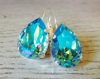 Swarovski Light Blue Crystal, Glacier Blue Earrings, Pear Shape Earrings, Blue multicolor earrings, dangle earring