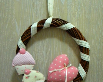 Romantic heart Garland and cup cake
