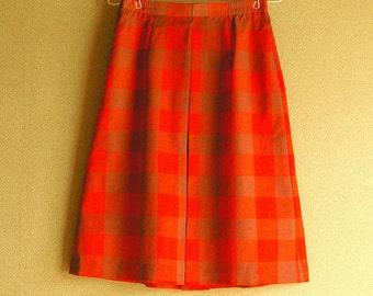 Vintage Plaid Pleat Skirt / A-line Skirt / Amber x Carrot Orange / 80s