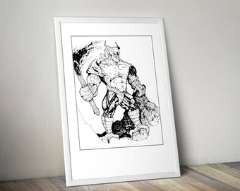 Spawn Comics, Original Art, Spawn Poster, Spawn Art, Black and White Print, Art Poster, Comic Book Print, 11x14 Print, VillainBros
