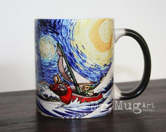 Zelda Mug, Zelda Coffee Mug, The Legend of Zelda, Starry Night Inspired, Color Changing Mug, Zelda Art, The Great Wave, Zelda Ceramic Mug