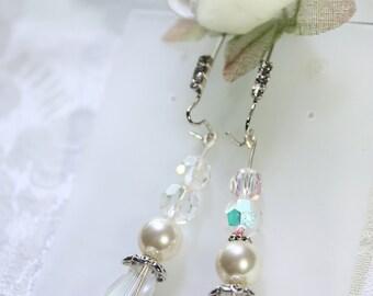 Crystal and Pearl Drop Earrings, Dangle Earrings Bridesmaids Gift, Crystal and Pearl Long Bridal Earrings