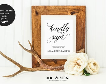 Kindly Sign Guest Book Sign | Guest Book Printable Sign Set | Editable Guest Book Sign | Wedding Printable Sign | Mr and Mrs Sign |MAM200_05