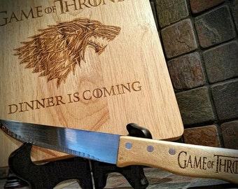 Game of Thrones- Engraved Cutting Board, Dinner is Coming, Game of Thrones Gift, House Stark, Birthday Gift