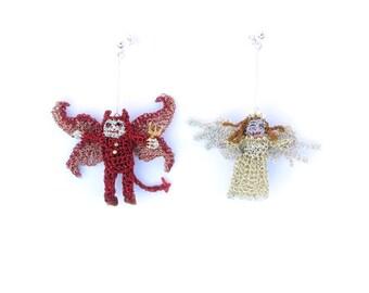 Angel and devil earrings - mismatched earrings, unusual jewelry, cute earrings, crochet wire jewelry, miniature crochet dolls, amigurumi