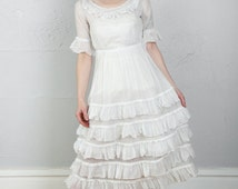 SALE- Antique White Dress . Ruffle Gown