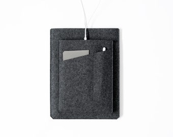 Made in the USA - iPad Pro Sleeve with Apple Pencil Pocket - Charcoal Felt