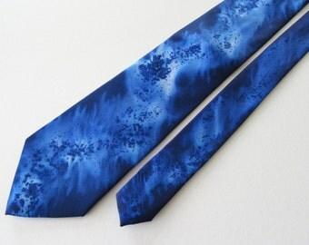 Dark Blue Tie, Hand Painted Dark Blue Tie, Hand Painted Tie, Blue Tie