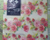 Vintage Red & Pink Roses Wrapping Paper 2 Sheets Original Package