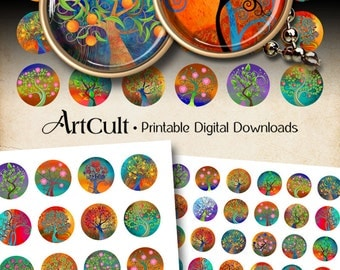 """1"""" (25mm) and 1.5 inch Images MAGICAL TREE CIRCLES Printable download Digital Collage Sheet for resin or glass pendants bezel cabs cabochons"""