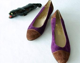 nos purple suede ferragamo pumps 7.5 narrow - 1211073