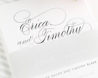 Gray Wedding Invitation - Script Wedding Invites, Elegant, Calligraphy, Silver, Stripes - Script Elegance Design - Deposit to Get Started