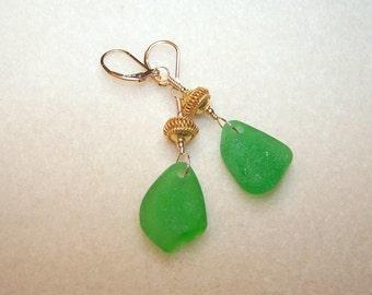 Genuine Sea Glass Earrings Bright Green Beach Glass Gold Vermeil Bali Lever Back Dangle Earings for Women Real Seaglass Jewelry Canada
