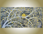 """Yellow Gray Birds Painting Huge 24"""" x 48"""" Original Art """"A Yellow Gray Day"""" Birds Love Blossoms Branches Flowers Modern Abstract A. Lamoreaux"""