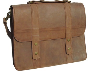 "Leather Messenger Bag, Leather Satchel , Leather Laptop Bag, 15"" Macbook Bag, Classic Briefcase, Shoulder Bag in Brown- MB26H"