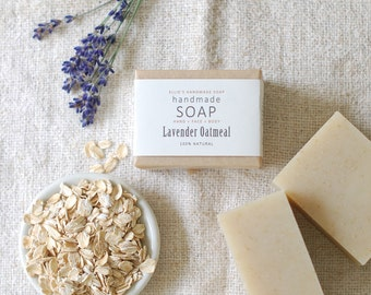 LAVENDER OATMEAL - Ellie's Handmade Soap - 100% Natural + Cold Process Olive Oil Soap - 4 ounce bar