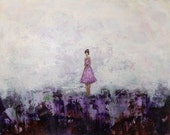 Large Abstract Painting  large Figure Painting Purple Painting  A New Day  22 x 28  x 1.5   Swalla Studio