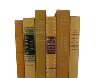 Yellow Gold Tangerine  Decorative Books, Vintage Wedding Decor , Vintage Book Decor , Home Decor , Photo Prop , Bookshelf Decor