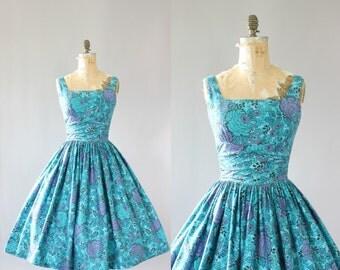 Vintage 50s Dress/ 1950s Cotton Dress/ Turquoise & Purple Floral Cotton Dress w/ Shelf Bust M