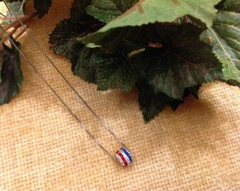 Vintage Rhinestone Necklace, Ball necklace, Rhinestone Disco Ball Necklace, Red White Blue necklace, Rhinstone Pendant Necklace