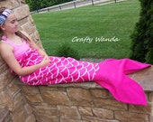 """Mermaid Tail Blanket, Hot Pink and White Scales, Pink Fin, Anti Pill Fleece, 52"""" Long, Child, Tween, Adult, Bonus: Compact Carry Wrap"""