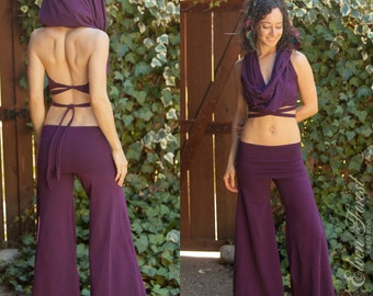 Convertible Jumpsuit Onesie-- into Cowl Hood crop Top and Lounge Pants - Perfect for Festivals ~ Elven Forest Creations, festival hood