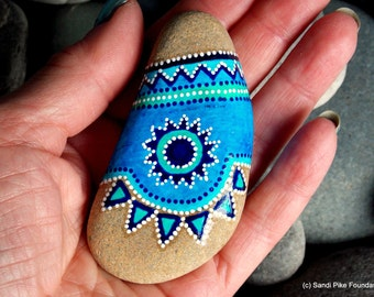 turquoise totem /  painted rocks / painted stones / rock art / hand painted rocks / tribal / small paintings / native amercian