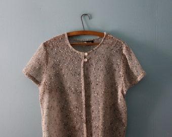 Vintage mesh textured tunic / Boxy fit ecru short-sleeve tunic shirt /  grid pattern / Vintage beige tweed mesh summer top  / Petite Medium