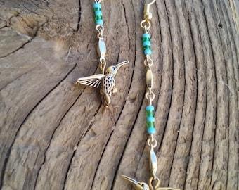 """Hummingbird earrings,turquoise,18 k gold,light, 3"""""""