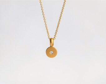 Simple Diamond Necklace, Minimal Diamond Pendant, 22k Gold Pendant Bridal Necklace Gold Disk Pendant Dainty Disc Solitaire