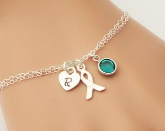 Ovarian Cancer Bracelet, Sterling Silver Personalized Cancer Awareness Bracelet, Teal Awareness Ribbon, Cancer Jewelry, Cancer Survivor Gift