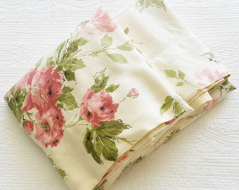 Vintage Cottage Home Shabby Pink, Celadon Green, and Cafe au Lait Rose Curtain Panels, Set of Two, Olives and Doves