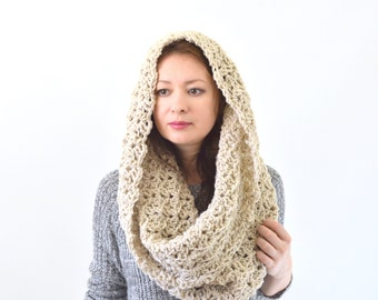 Knit Woman Lace Cowl Hood Scarf Neck Warmer | The Venice