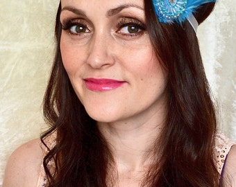 1920s Blue Grey Silver Feather Flapper Vintage Gatsby Headband