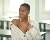 Cowrie Shell Adorned // Afrocentric // Natural Wood Hand Stained Earrings // African and Caribbean Inspired Jewelry
