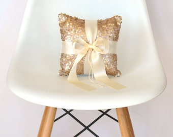 Wedding Ring Bearer Pillow - Blush Sequin and Ivory Satin Bow