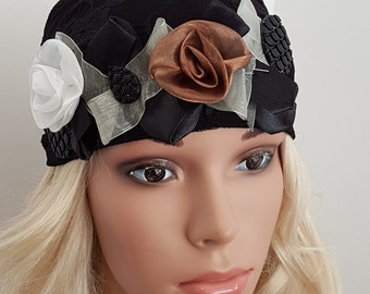Black Tichel With Flowers , Chemo Head Wrap , Head Scarf , Unique Head Warp , Snood , Hair Covering , Chemo Hat , Jewish Women Hat
