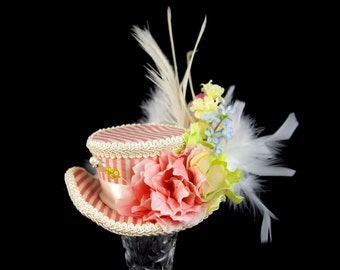 Pink and Cream Striped Flower Garden Mini Victorian Riding Hat Fascinator, Marie Antoinette, Alice in Wonderland, Derby Hat